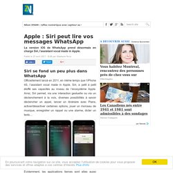 Apple : Siri peut lire vos messages WhatsApp