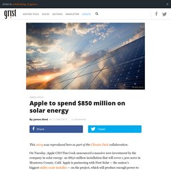 Apple to spend $850 million on solar energy