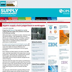 Apple's supply chain judged best in world again