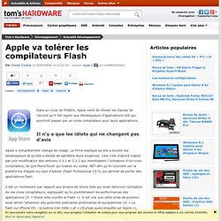 Apple va tolérer les compilateurs Flash