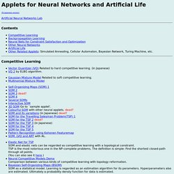 Java Applets for Neural Network and Artificial Life