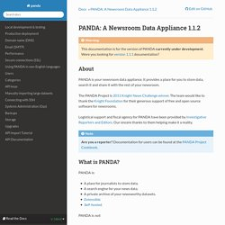 PANDA: A Newsroom Data Appliance 1.1.2 — panda 1.1.2 documentation