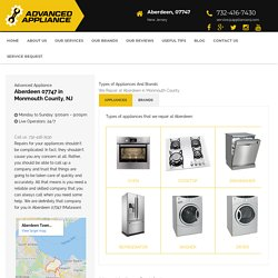 Appliance Repair Service in Monmouth County Aberdeen, NJ 07747