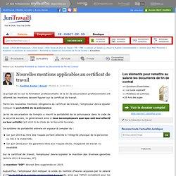 Nouvelles mentions applicables au certificat de travail