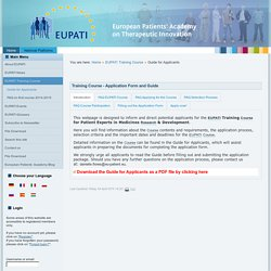 Guide for Applicants - European Patients Academy on Therapeutic Innovation