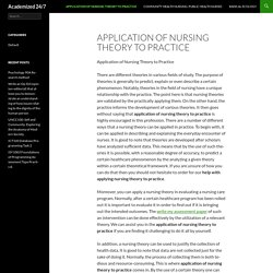 Application of Nursing Theory to Practice