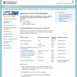 Application and Funding Deadlines: : Graduate Admissions