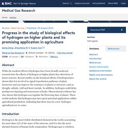 Progress in the study of biological effects of hydrogen on higher plants and its promising application in agriculture
