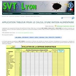 Application tableur pour le calcul d'une ration alimentaire - SVT Lyon