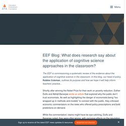 EEF Blog: What does research say about the application of cognitive science approaches in the classroom?