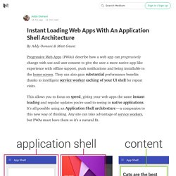 Instant Loading Web Apps With An Application Shell Architecture — Google Developers