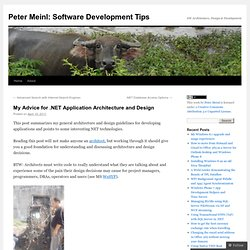 My Advice for .NET Application Architecture and Design | Peter Meinl – IT Architect & Lateral Thinker