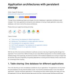 Application architectures with persistent storage