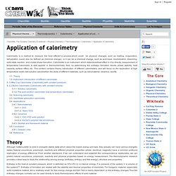 Application of calorimetry - ChemWiki