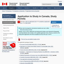 Application to Study in Canada, Study Permits
