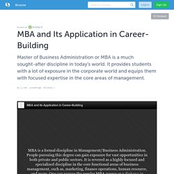 MBA and Its Application in Career-Building