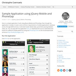 Sample Application using jQuery Mobile and PhoneGap