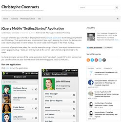"""jQuery Mobile """"Getting Started"""" Application"""