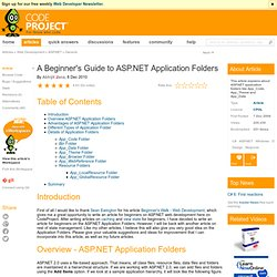 A Beginner's Guide to ASP.NET Application Folders