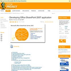 Developing Office SharePoint 2007 application