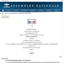 N°3558 - Rapport de MM. Gérard Cherpion et Jean-Patrick Gille déposé en application de l'article 145-7 alinéa 1 du règlement, par la commission des affaires sociales sur la mise en application de la loi n°2014-288 du 5 mars 2014 relative à la formation p