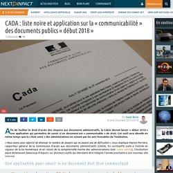 CADA : liste noire et application sur la « communicabilité » des documents publics « début 2018 »