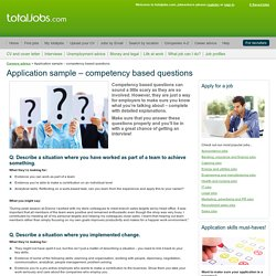 Application sample – competency based questions