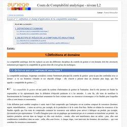 Leçon n° 1: définition et champ d'application de la comptabilité analytique