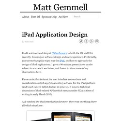 iPad Application Design » Matt Legend Gemmell