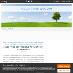 Select the Best Mobile Application Developers