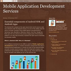 Mobile Application Development Services: Essential components of Android SDK and Android Apps
