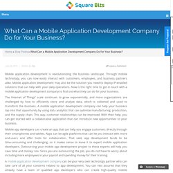 What Can a Mobile Application Development Company Do for Your Business?