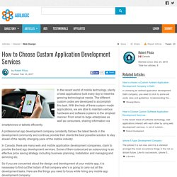 How to Choose Custom Application Development Services