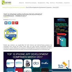 Top 10 iPhone Application Development Companies - March 2017 - Top App Creators