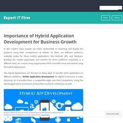 Importance of Hybrid Application Development for Business Growth – Expert IT Firm