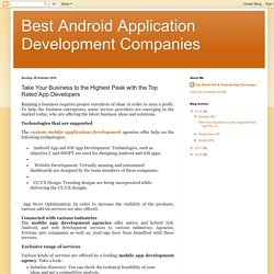 Best Android Application Development Companies: Take Your Business to the Highest Peak with the Top Rated App Developers