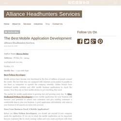 The Best Mobile Application Development - Alliance Headhunters Services : powered by Doodlekit