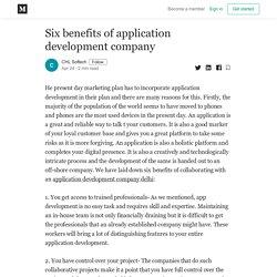 Six benefits of application development company - CHL Softech - Medium