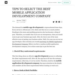 TIPS TO SELECT THE BEST MOBILE APPLICATION DEVELOPMENT COMPANY