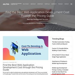 The Best Web Application Development Cost Through The Pricing Guide