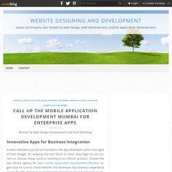 Call Up the Mobile Application Development Mumbai for Enterprise Apps