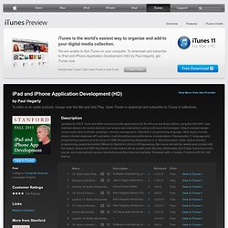 iPad and iPhone Application Development (HD) - Download free content from Stanford
