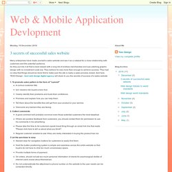 Web & Mobile Application Devlopment: 3 secrets of successful sales website