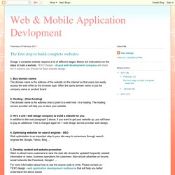 Web & Mobile Application Devlopment: The first step to build complete websites