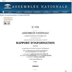 ASSEMBLEE NATIONALE 17/02/07 RAPPORT D'INFORMATION DÉPOSÉ en application de l'article 86, alinéa 8, du Règlement PAR LA COMMISSI