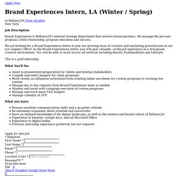 Job Application for Brand Experiences Intern, LA (Winter / Spring) at Refinery29