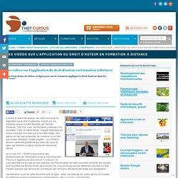 Des vidéos sur l'application du droit d'auteur en formation à distance