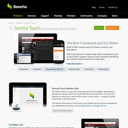 Mobile Web Application Framework Demos | Demos | Sencha Touch | Products | Sencha