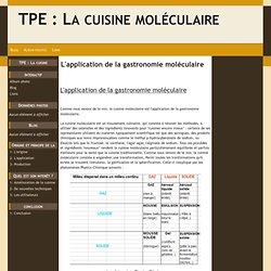 L'application de la gastronomie moléculaire - TPE : La cuisine moléculaire