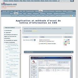 Application et méthode d'envoi de lettres d'information en CDO